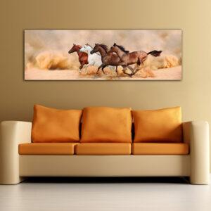 """Πίνακας σε καμβά Πανοραμικός """"Άλογα - Horses"""""""