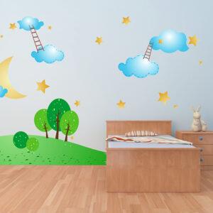 """Παιδικό αυτοκόλλητο Unisex/Διάφορα """"Αστέρια - φεγγάρι - σύννεφα"""""""