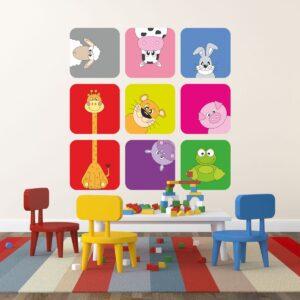"""Παιδικό αυτοκόλλητο Unisex/Διάφορα """"Διάφορα ζώα σε κουτάκια"""""""