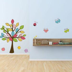 """Παιδικό αυτοκόλλητο Unisex/Διάφορα """"Δέντρο με πεταλούδες"""""""