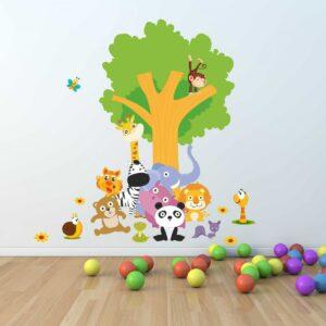 """Παιδικό αυτοκόλλητο Unisex/Διάφορα """"Δέντρο με ζωάκια"""""""