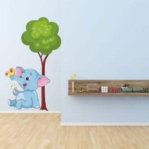 """Παιδικό αυτοκόλλητο Unisex/Διάφορα """"Ελεφαντάκι στο δέντρο"""""""
