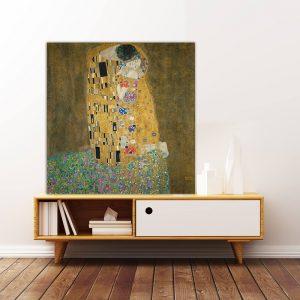 """Πίνακας σε καμβά Διάσημοι Ζωγράφοι """"Gustav Klimt the kiss"""""""