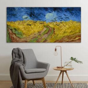 """Πίνακας σε καμβά Διάσημοι Ζωγράφοι """"Vincent van Gogh Wheatfield with crows"""""""