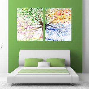 """Πίνακας σε καμβά Δίπτυχος """"Four Seasons"""""""