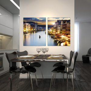 """Πίνακας σε καμβά Δίπτυχος """"Venice - Βενετία"""""""