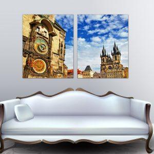 """Πίνακας σε καμβά Δίπτυχος """"Prague - Πράγα"""""""