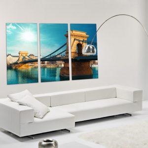 """Πίνακας σε καμβά Τρίπτυχος """"Γέφυρα στη Βουδαπέστη"""""""