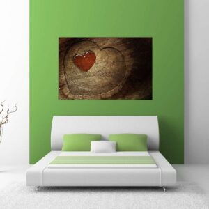 """Πίνακας σε καμβά Ορθογώνιος """"Ξύλινη καρδιά"""""""