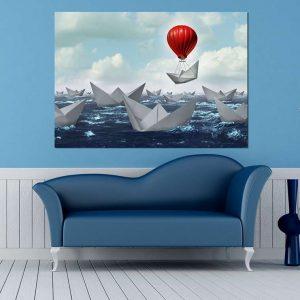 """Πίνακας σε καμβά Ορθογώνιος """"Χάρτινες βάρκες"""""""