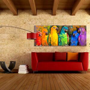"""Πίνακας σε καμβά Πανοραμικός """"Πολύχρωμοι παπαγάλοι"""""""