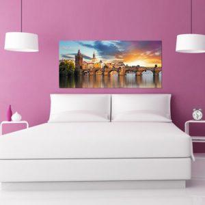"""Πίνακας σε καμβά Πανοραμικός """"Γέφυρα της Πράγας"""""""