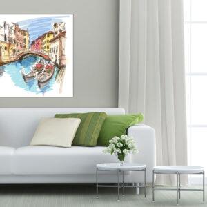 """Πίνακας σε καμβά Τετράγωνος """"Βενετία - Venice"""""""