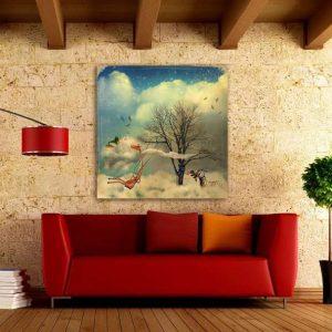 """Πίνακας σε καμβά Τετράγωνος """"Αφηρημένο τοπίο """""""