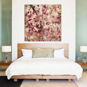 """Πίνακας σε καμβά Τετράγωνος """"Αφηρημένα λουλούδια"""""""