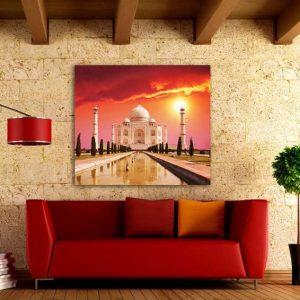 """Πίνακας σε καμβά Τετράγωνος """"Taj mahal palace India"""""""