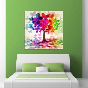 """Πίνακας σε καμβά Τετράγωνος """"Butterfly tree"""""""