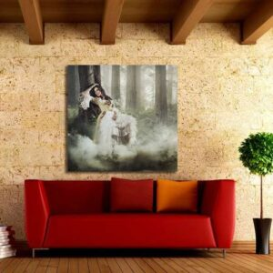 """Πίνακας σε καμβά Τετράγωνος """"Γυναίκα στο δάσος """""""