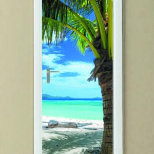 """Αυτοκόλλητο Πόρτας """"Εξωτική παραλία"""""""