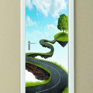 """Αυτοκόλλητο Πόρτας """"Δρόμος στον αέρα"""""""