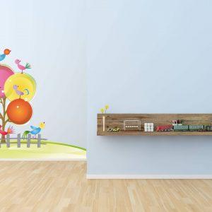 """Παιδικό αυτοκόλλητο Unisex/Διάφορα """"Δέντρο με πουλάκια"""""""