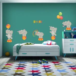 """Παιδικό αυτοκόλλητο Unisex/Διάφορα """"Ελεφαντάκια στο τσίρκο"""""""