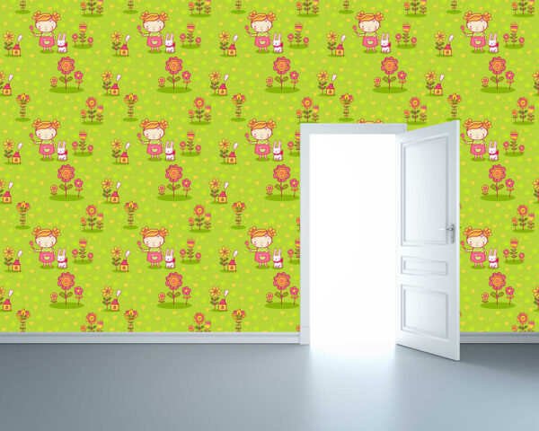 """Παιδική ταπετσαρία τοίχου """"Κοριτσάκι με λουλούδια"""""""