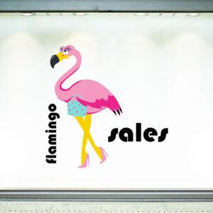 """Αυτοκόλλητο Εκπτώσεων """"Flamingo sales"""""""