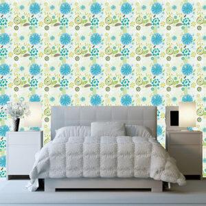 """Ταπετσαρία τοίχου """"Γαλάζια λουλούδια"""""""