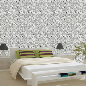 """Ταπετσαρία τοίχου """"Ασπρόμαυρα λουλούδια"""""""